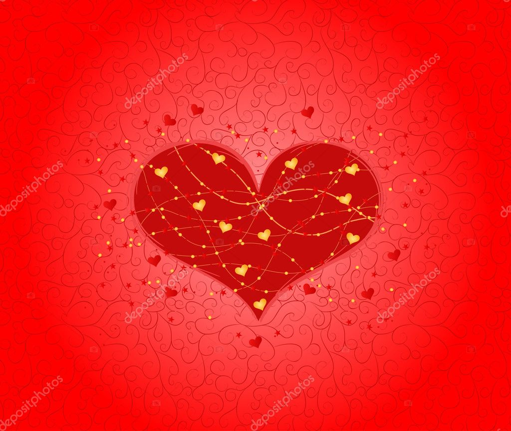 Valentine's day card decorated with heart, beads and stars — Stock Vector #1577072