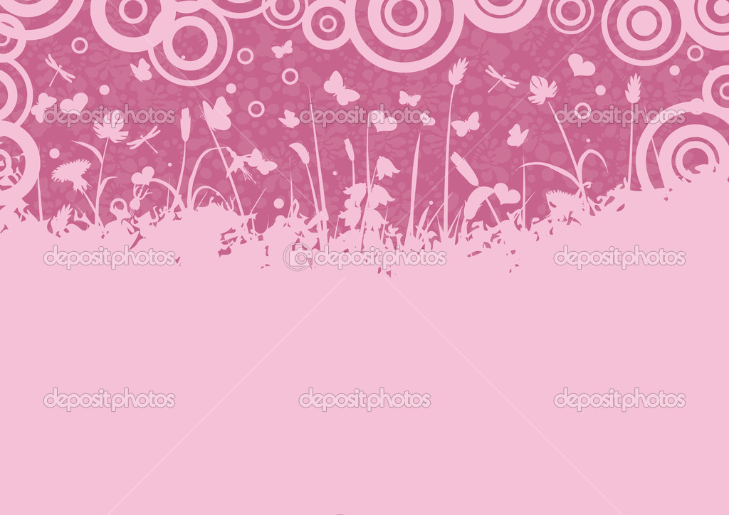 Pink background decorated with scrolls, flowers, butterflies — Stock Vector #1579789