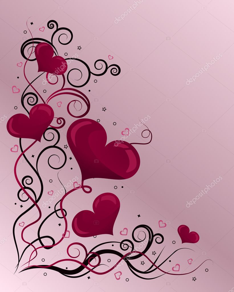 Valentine's day card with hearts, stars and curls — Stock Vector #1621735