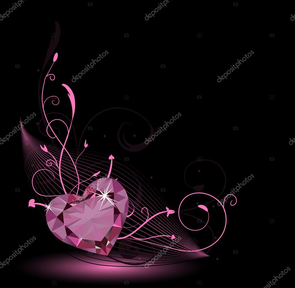 Valentine card with diamond heart and floral ornament — Stockvectorbeeld #1798550