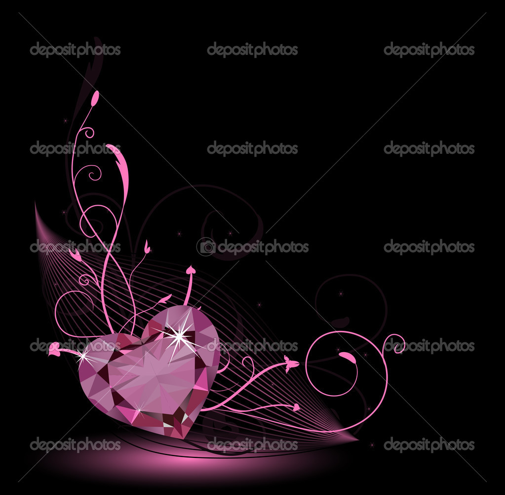 Valentine card with diamond heart and floral ornament — Векторная иллюстрация #1798550
