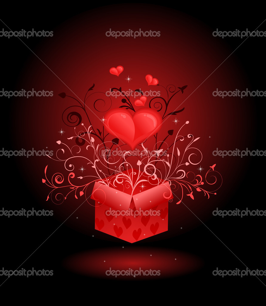 Greeting card with heart coming out of box — Stock Vector #1846507