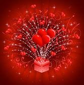 Coeurs en sortant de boîte de cadeau — Vecteur