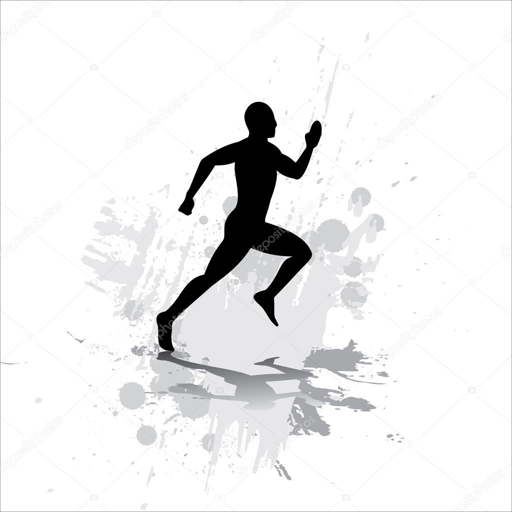 Silhouette of the sportsman on abstract background. — Stock Vector #1322070