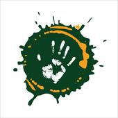 Imprint hand on paint. — Stock Vector