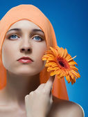 Woman With Flower. — Stock Photo