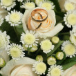 Gold rings on a bouquet of roses — Stock Photo #1360249