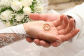 Rings on a palm — Stock Photo
