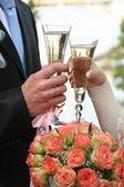 Glass wine a hand — Stock Photo