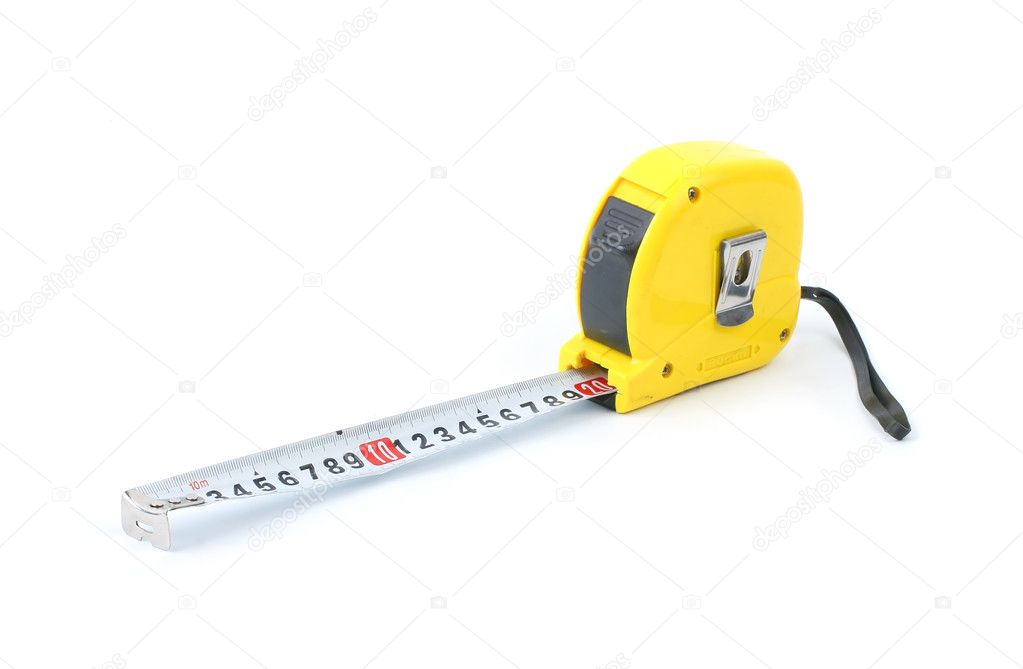 Yellow measuring tape isolated on white background — Stock Photo #1360063