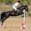 Rider in the jumping show — Stock Photo