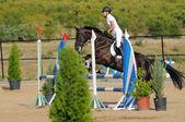 Cavalier dans le spectacle de saut d'obstacles — Photo
