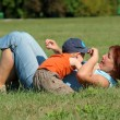 Grandmother and grandson in the park — Stock Photo #2253368