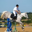 Rider in jumping show — Stock Photo