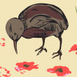 Royalty-Free Stock Imagen vectorial: Sparrow and poppy