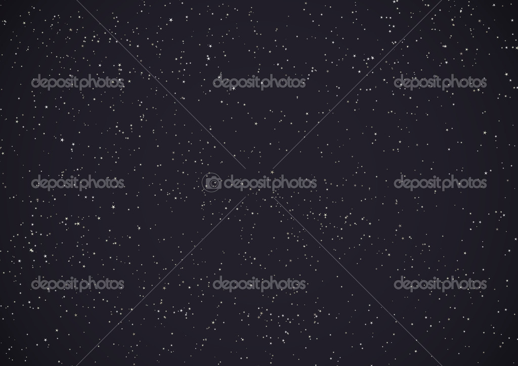 Simple vector background. Lot of stars, dark night sky.  Stock Vector #1385215