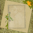 Vintage card from old paper and rose on — Stockfoto #1304348