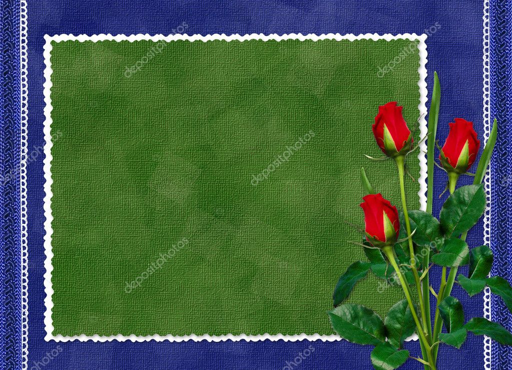 Green card with red rose on the darkblue background  Foto Stock #1304059