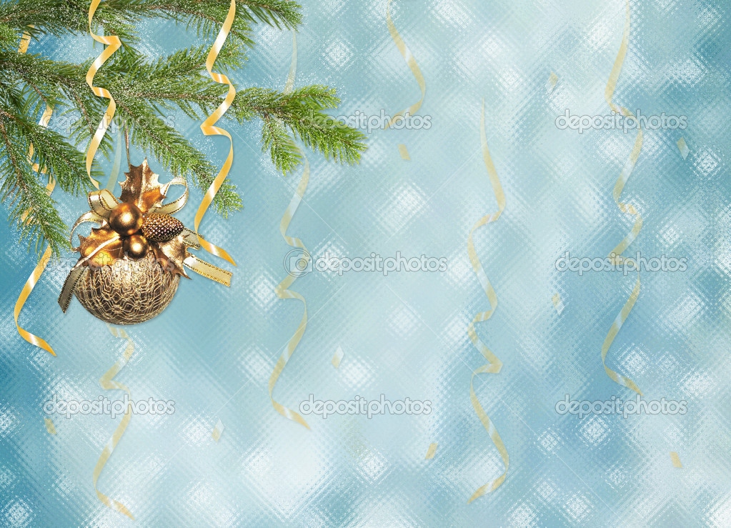Blue card for the holiday with branches and ribbons   — Stock Photo #1304101