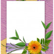 White frame with flower on the lilac bac — Stock Photo