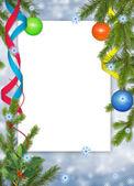 Bílý rámeček s pobočkami, ball a ribb — Stock fotografie