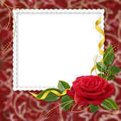 белая рамка с розы и ленты на — Стоковое фото