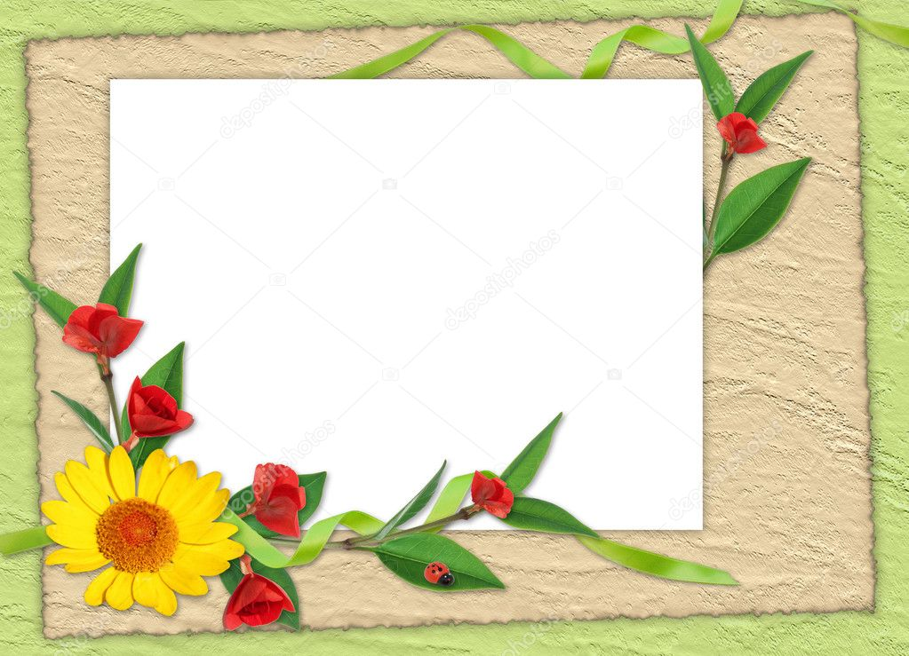 White frame with flowers on the green background  Foto Stock #1311727