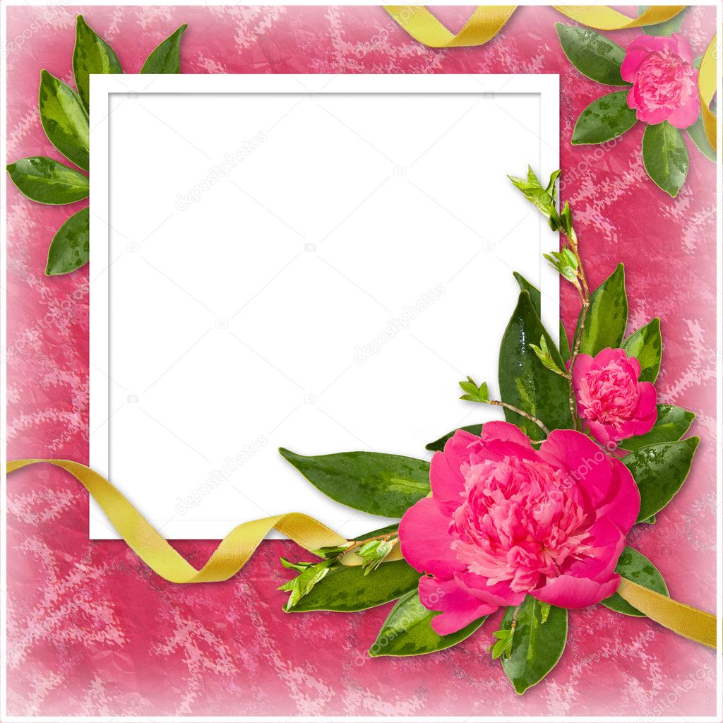 White frame with flower and ribbon on the pink background — Stock Photo #1311807