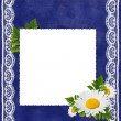 Frame with flowers on the blue backgr — 图库照片