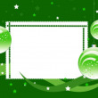 Frame with balls on the green background - Stock Photo