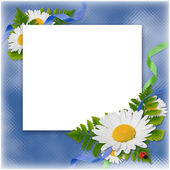 Card with flowers on the blue background — ストック写真