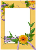 Card with flower on the yellow backgr — 图库照片