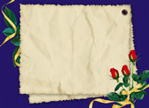 Card with roses on the blue background — 图库照片