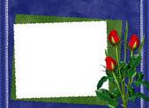 蓝色背景上的玫瑰与框架 — 图库照片