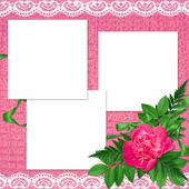 Card with flowers on the pink background — Stock Photo