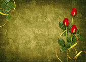 Card for the holiday with red rose — Foto Stock