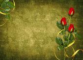 Cartão para o feriado com rosa vermelha — Foto Stock