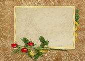 Vintage card for the holiday with rose — Stok fotoğraf