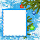 Frame with branches on the blue backgr. — Stock Photo