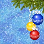 Blauwe kaart voor de vakantie met bal — Stockfoto