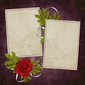 Karte von rose auf die abstrakte zwillingsvulkane. — Stockfoto