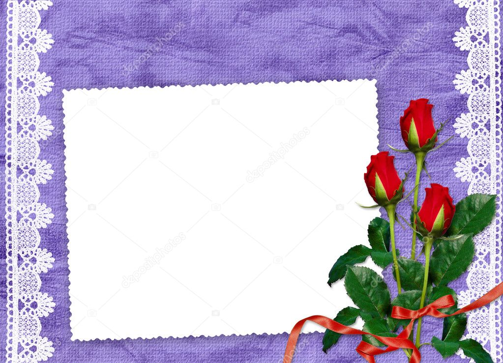 White frame with roses and ribbons on the violet background   Zdjcie stockowe #1403344