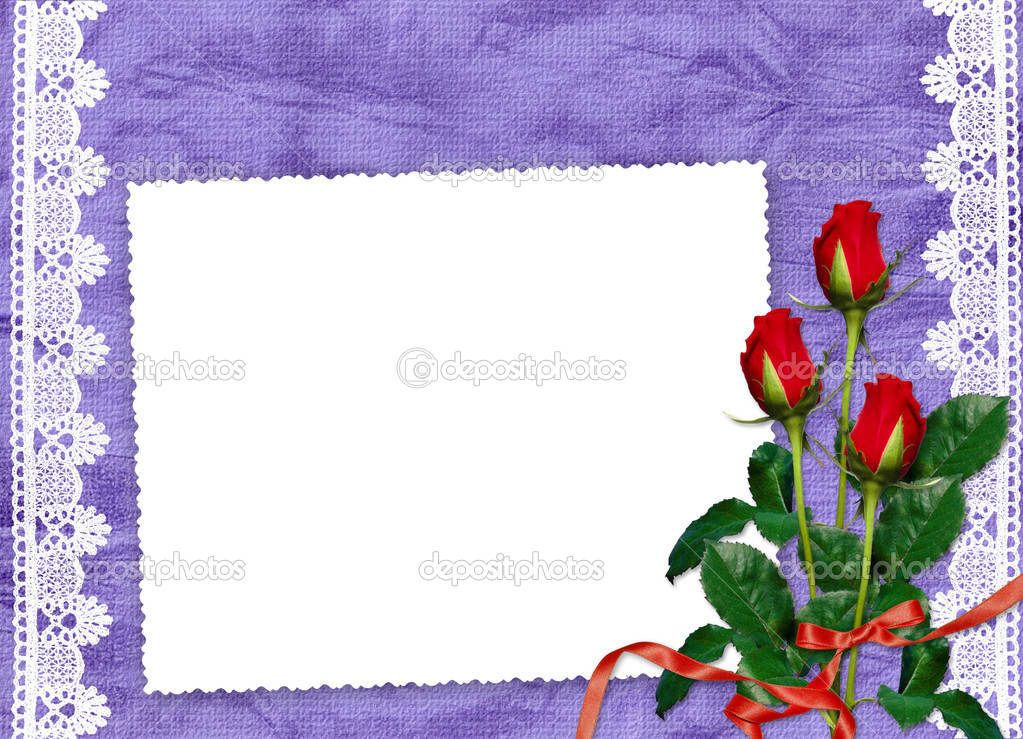 White frame with roses and ribbons on the violet background  — Lizenzfreies Foto #1403344