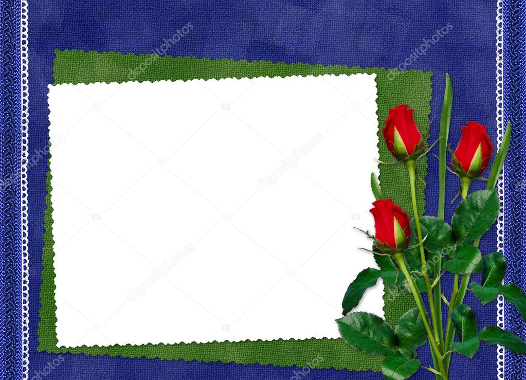 White frame with red roses on the darkblue background  — Lizenzfreies Foto #1403786