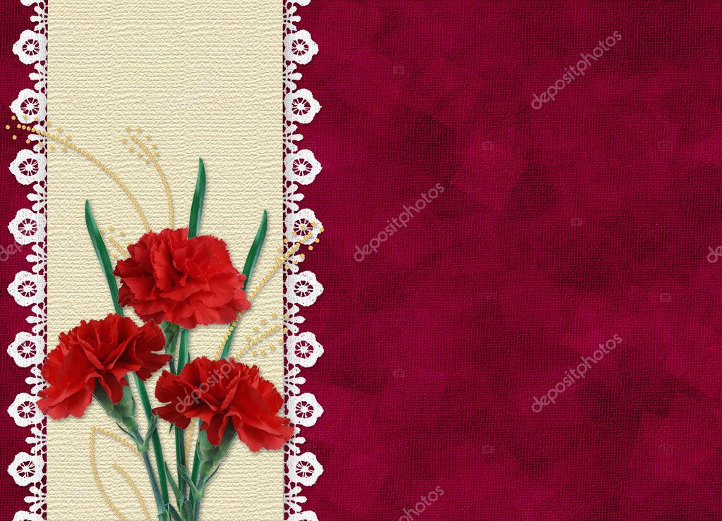 Red card for invitation or congratulation carnation and laces  Stock Photo #1404113