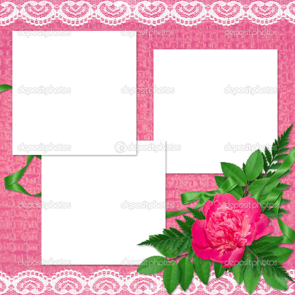 White frame with flowers and plants on the pink background — Stock Photo #1406730