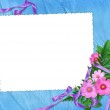 White frame with flowers and ribbon — Stock Photo