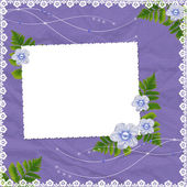 Frame with flowers on the lilac backgr — Stock Photo