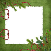 Card for holiday with spruce branches — 图库照片