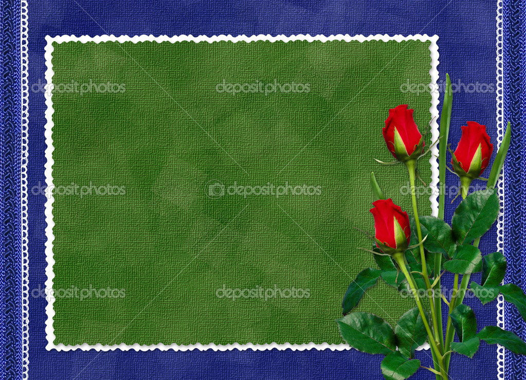 Green card with red rose on the darkblue background — Stock Photo #1415393